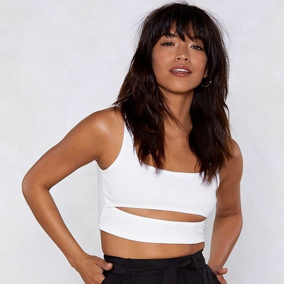9bf0fee87aba52 Nasty Gal Tops | White Cutout For The Count Ribbed Crop Top | Poshmark